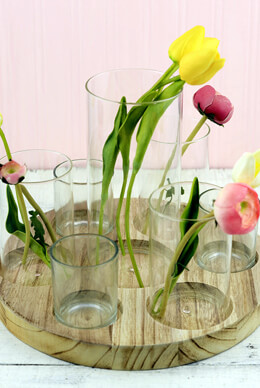 Wood Circular Tray with 7 Cylinder Vases