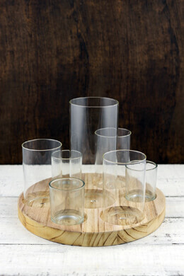 Wood Circular Tray with 7 Cylinder Clear Glass Vases