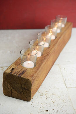 "Handcrafted 23"" Wood Votive Holder with 6 Votive Cups"