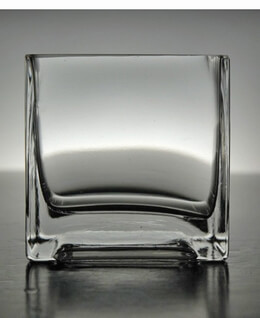 3in Clear Glass Square Vase & Candleholder
