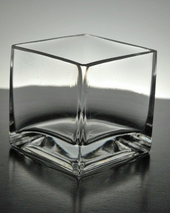 Clear Glass Square Vase & Candleholder 3 x 3