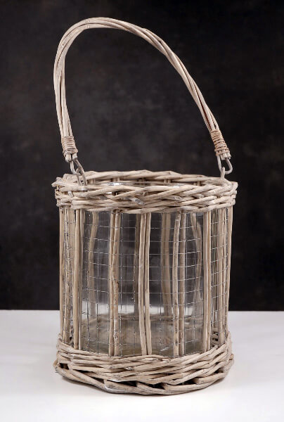 Candle Holders Wicker and Wire 8""