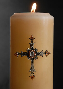 Candle Jeweled Pins Orange Cross