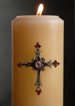 Candle Jeweled Pins Ruby Cross