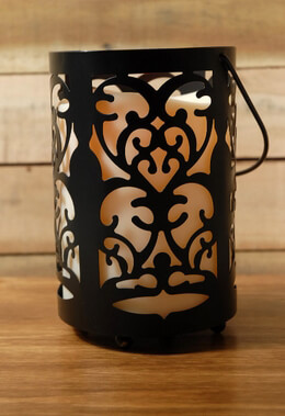 Battery Operated Candle Lantern Black