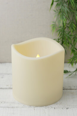 Battery Operated 6x6 Pillar Candle LED, Outdoor, Wavy Edge