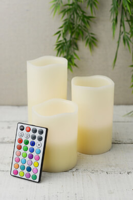 Gerson 3-pc. Wax Wavy Edge LED Candle with Soft Glow Flicker