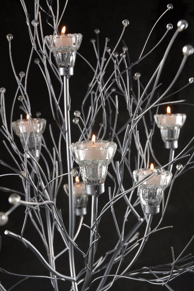 Set of Two Silver Branched Candle Trees 4.5ft