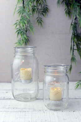 2 Mason Jar Battery Operated Votive Candles & Holders with Timer