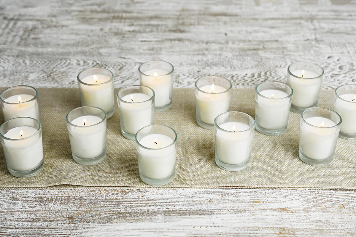 25 Pre-filled Candles Glass Votive Holders