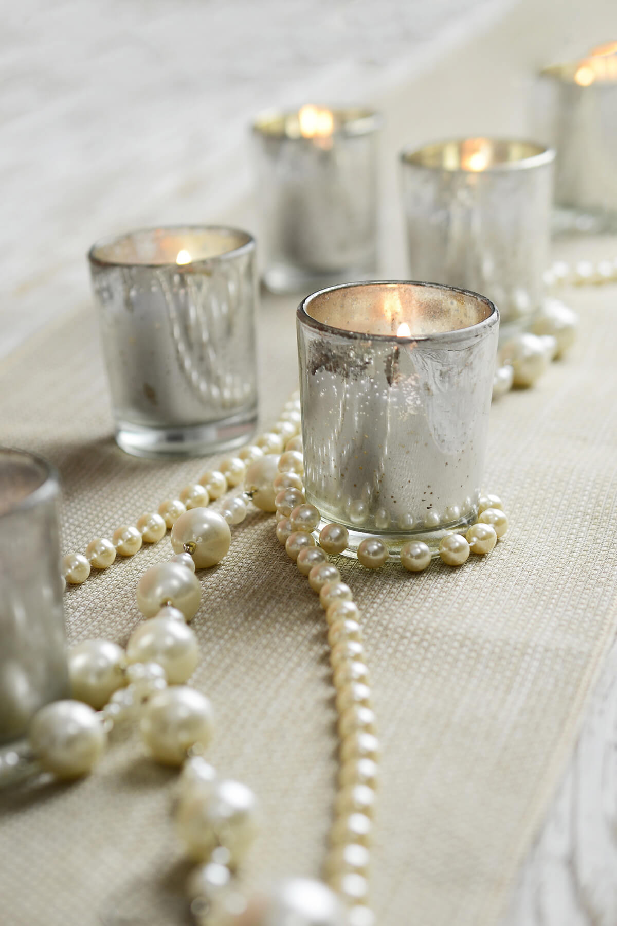 12 Pre-filled Candles in  Mercury Glass Votive Holders