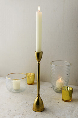 "Antique Gold 10"" Taper Candle Holder"