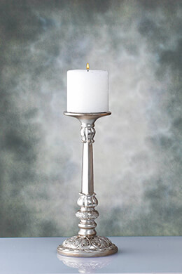 "Candlestick 13"" Silver Resin Pillar Candle Holder"