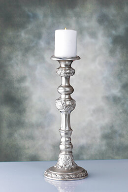 "Silver 16"" Candlestick Resin  Pillar Candle Holders"