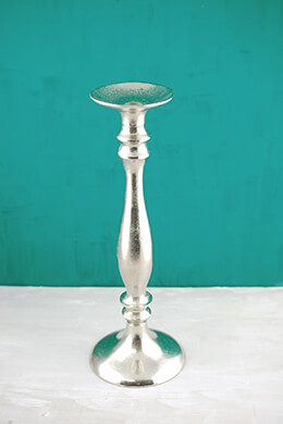 "Candlestick 15"" Silver Metal Candle Holder"