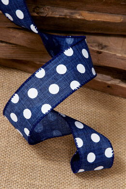 Denim Blue with White Polka Dot Canvas Ribbon 1.5in x 10 yards Wired