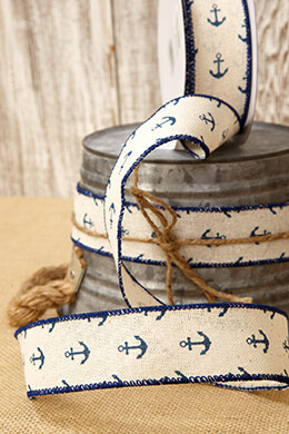 Nautical Ribbon Ivory with Navy Blue Anchors 1.5in x 10 yds