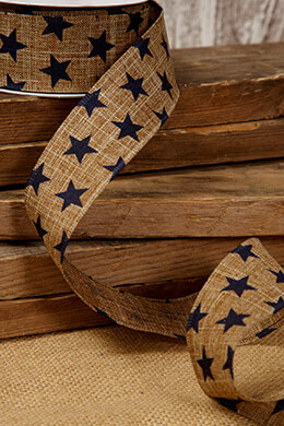 Canvas Ribbon Navy Stars 1.5in x 10 yds