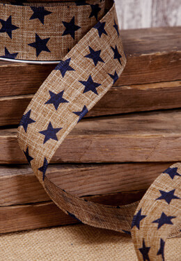 Brown Canvas Ribbon with Navy Blue Stars 1.5in x 10 yds Wired