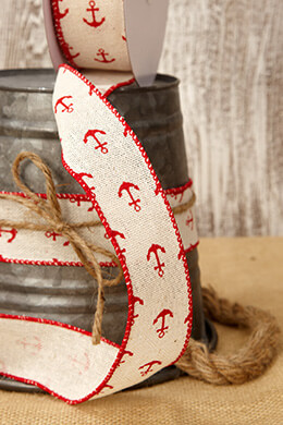 Canvas Ribbon with Red Anchors 1.5in