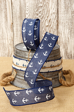 Canvas Ribbon White Anchors 1.5in