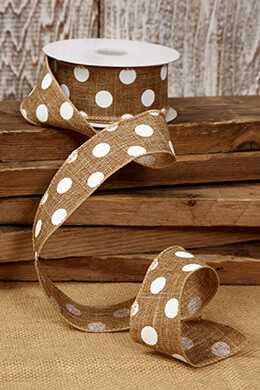 Burlap with White Polka Dots, Wired, 1.5in x 10 yds