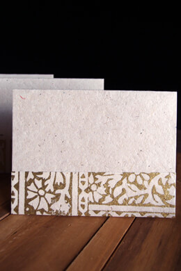 Handmade Golden Mum Seeded Paper Card & Envelope, Woodcut Print, Gold