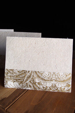Handmade Golden Garden Seeded Paper Card & Envelope, Woodcut Print, Gold