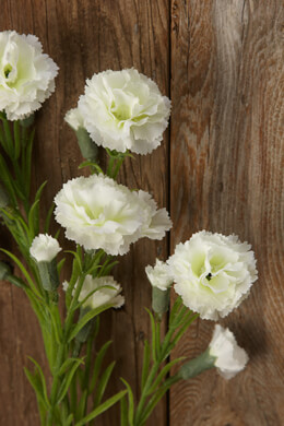 Cream White Silk Carnations with 15 Flowers