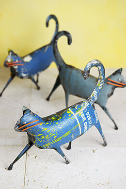 Recycled Metal Cat Sculpture 9""