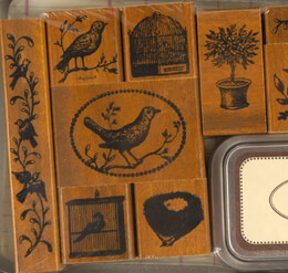 Cavallini Birds & Nests Rubber Stamp Set with ink pad
