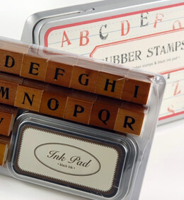 Cavallini & Co. Alphabet Rubber Stamps with ink pad