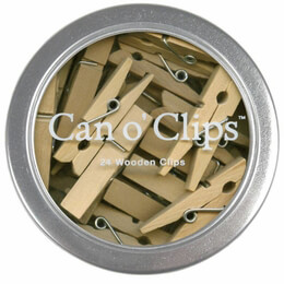 "Tiny Clothespins Wood 1.5"" (24 pins) Can O' Clips, Cavallini & Co."
