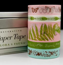 Cavallini Decorative Paper Tape Flora & Fauna (5 rolls asst)