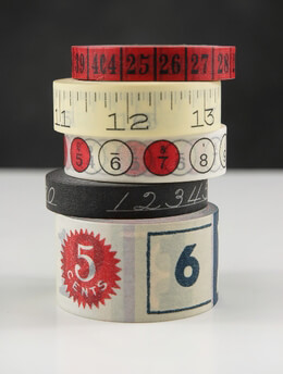 Number Tape Assorted (Pack of 5 rolls)