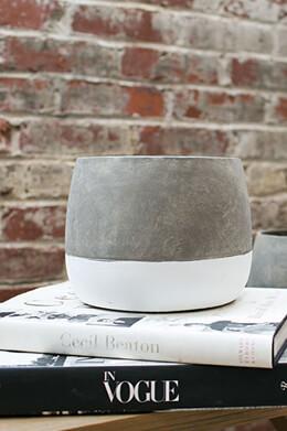 "Dip Dyed Ceramic Ash Flower Pots 8""x 6.25"
