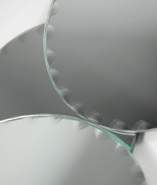 Round Mirrors with Scalloped Edges 5in | Set of 6