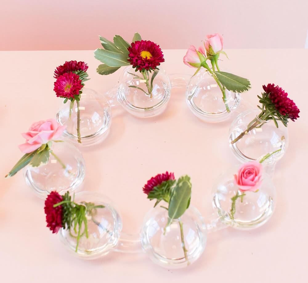 "Large Circle of Best Buds 15""  Vase, Centipede Circle 8 Bud Vases"