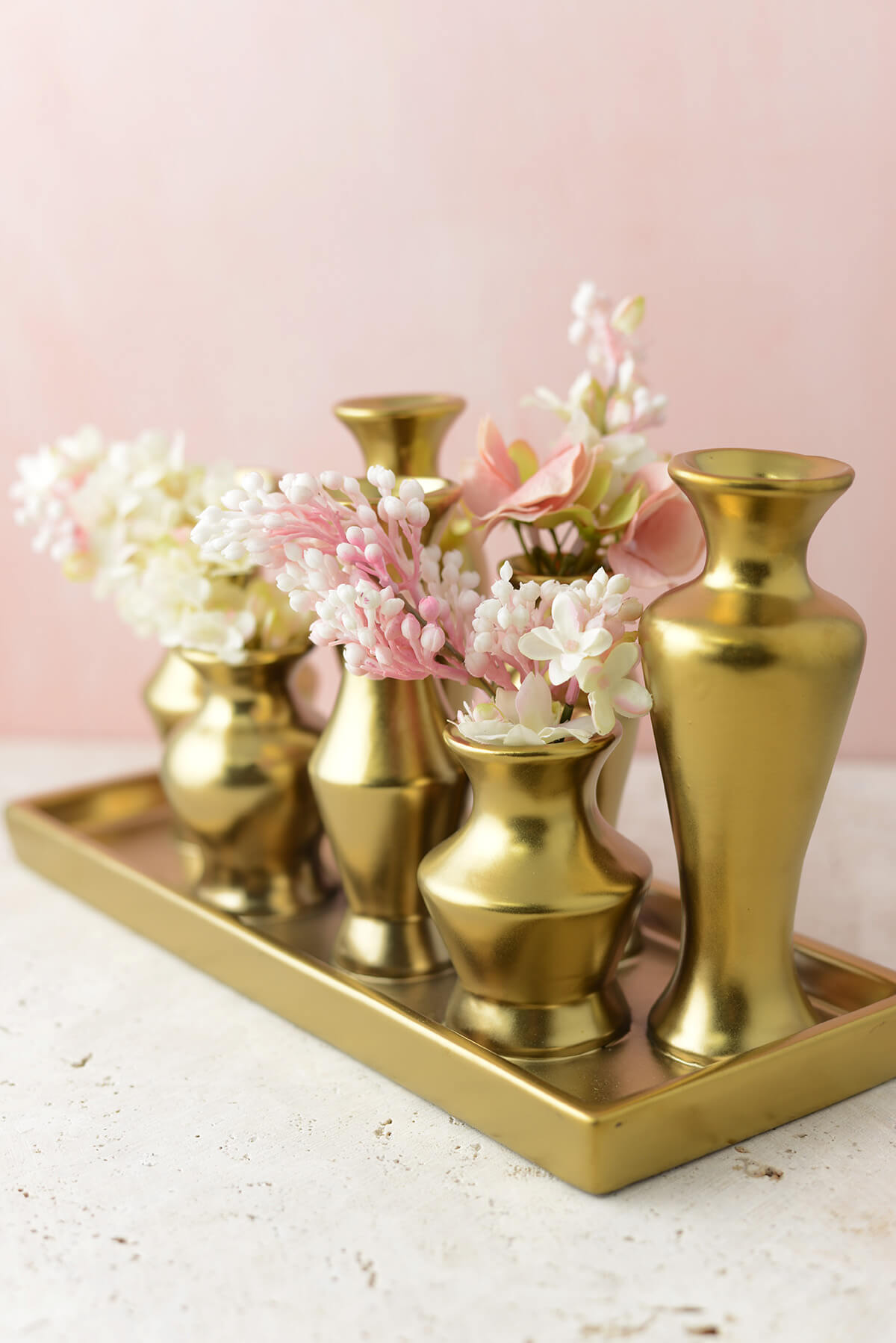 gold chic bud vase set. Black Bedroom Furniture Sets. Home Design Ideas