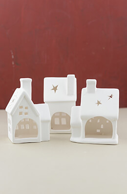 Ceramic Candle Holder Houses (Set of 3)