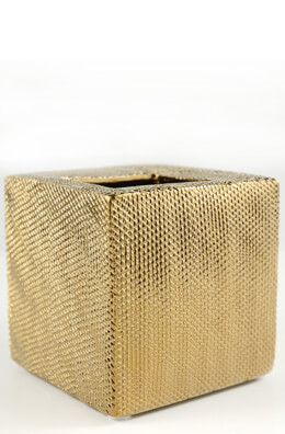 Cross-hatch Metallic Gold Ceramic Vase