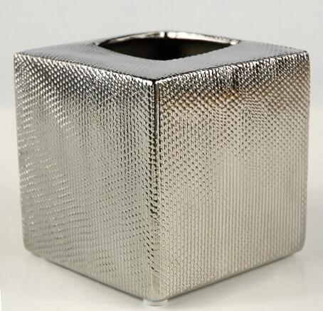 Ceramic Silver Cross Hatch Pot & Vase