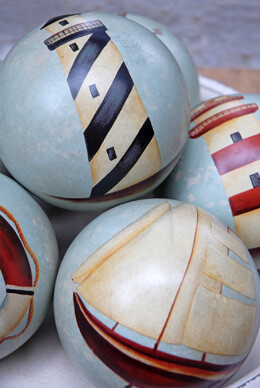 Nautical Ceramic Deco Balls 4in (Set of 6)