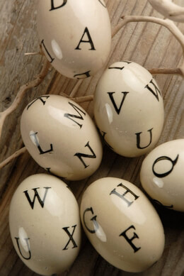 "Ceramic Eggs 3"" with Letters (6 eggs/pkg)"