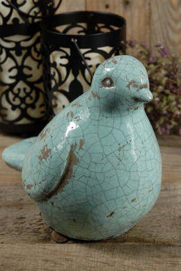 Ceramic Bird Light Blue 7in