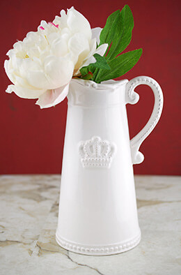 Crown Ceramic White Pitcher 9.5in