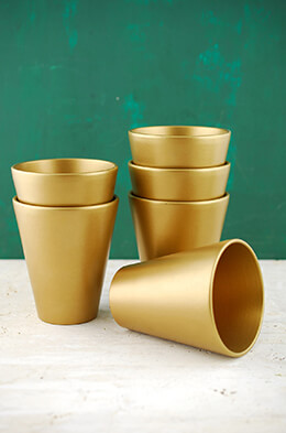 Ceramic Pot Tapered Gold 4.5in (Set of 6)