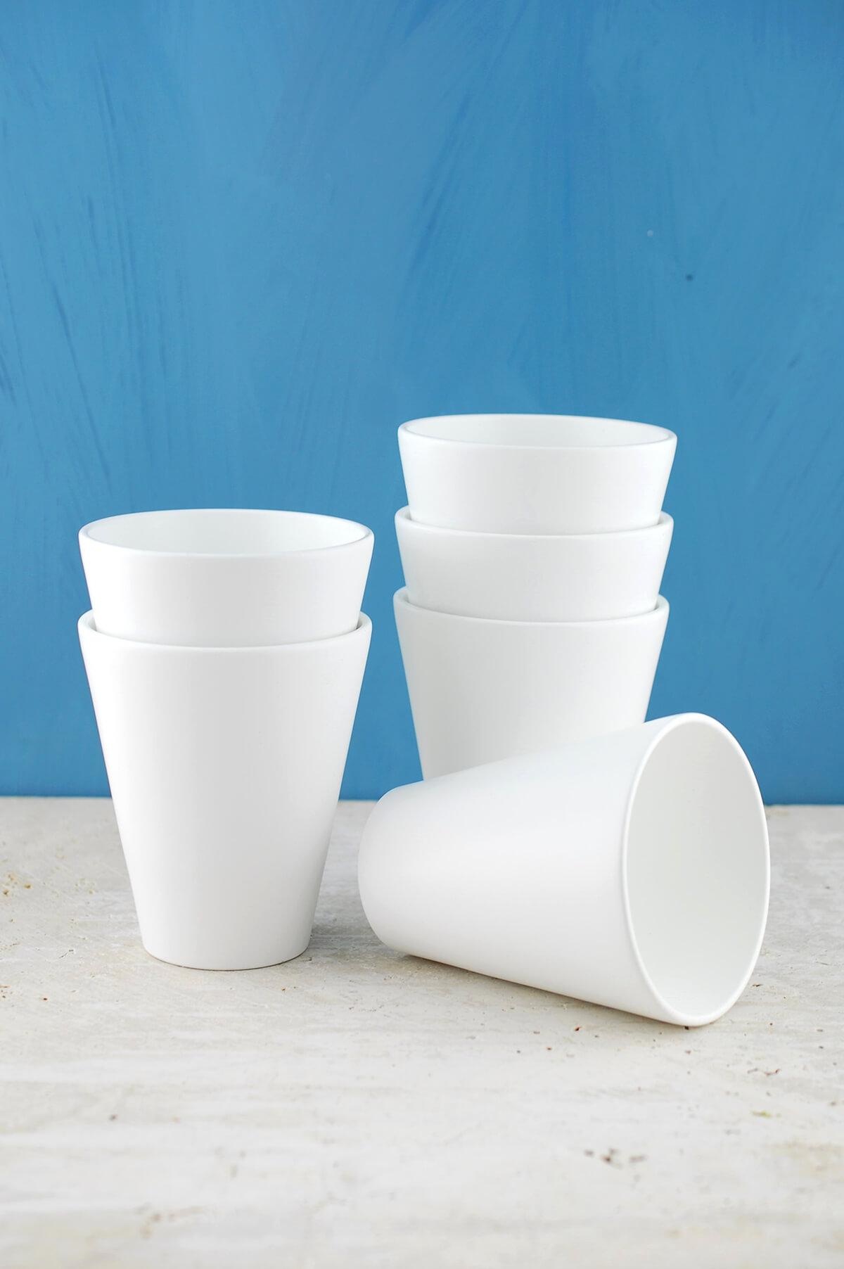 6 Ceramic Folio Pots  White 4.5in