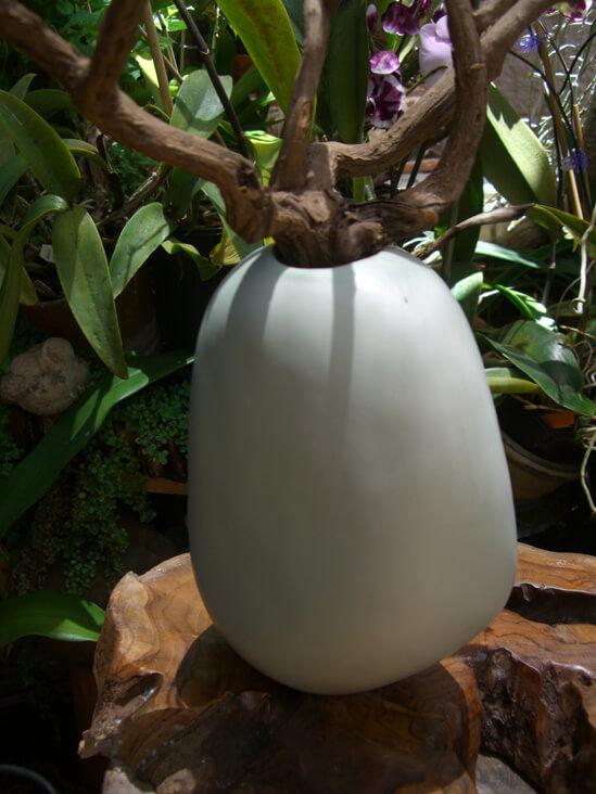 """Ceramic Rock Vase 8.5 """" Sage Green Akasha"""