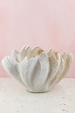Cream Ceramic Seashell Vase 13""